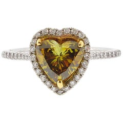 GIA Certified 1.01 Carat Natural Fancy Deep Brownish Yellow Heart Diamond Ring