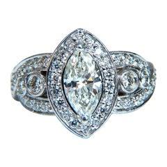 GIA Certified 1.01 Carat Natural Marquise Diamond Cluster Halo Ring 18 Karat
