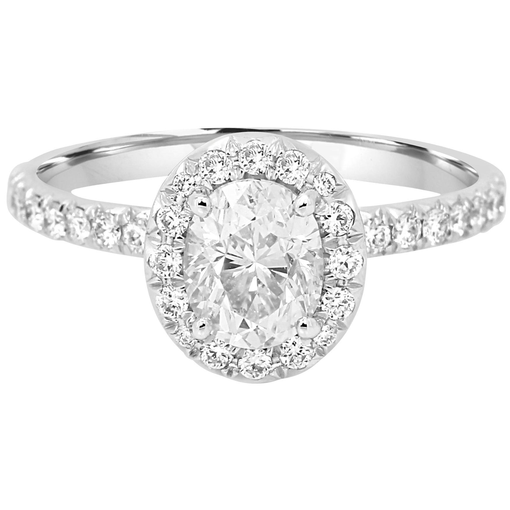 GIA Certified 1.01 Carat Oval Diamond Halo Gold Platinum Engagement Bridal Ring