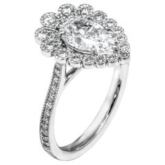 GIA Certified 1.01 Carat Pear Shape Diamond Engagement Ring