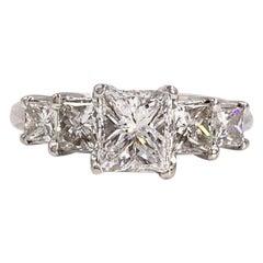 GIA Certified 1.01 Carat Princess Cut Diamond Graduated Diamond Engagement Ring
