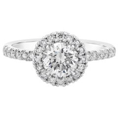 GIA Certified 1.01 Carat Round Diamond Halo Engagement Ring
