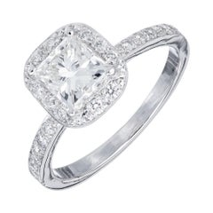 GIA Certified 1.01 Carat Square Cut Diamond Platinum Halo Engagement Ring