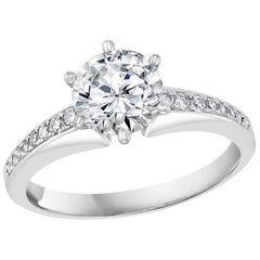 GIA Certified 1.01 Carat VS2, E Round Solitaire Diamond Engagement Platinum Ring