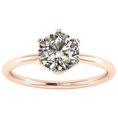 GIA Certified 1.01 Carat White Diamond in 18 Rose Gold Solitaire Engagement Ring