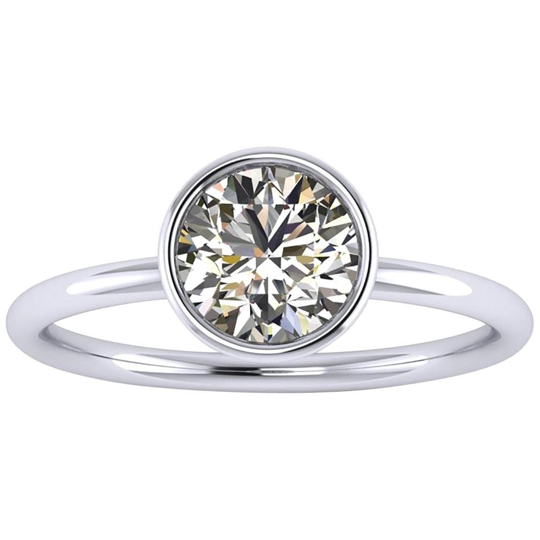 GIA Certified 1.01 Carat White Diamond in Platinum 950 Handmade Ring