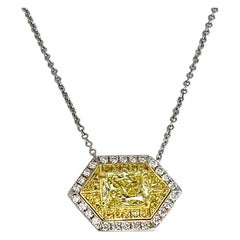GIA Certified 1.01 Natural Fancy Intense Cushion-Cut Yellow Diamond Pendant