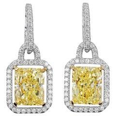 GIA Certified, 10.11 Carat Total Weight Fancy Yellow Diamond Dangle Earrings