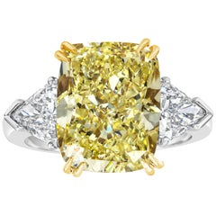 GIA Certified 10.11 Carat Yellow Diamond Three-Stone Engagement Ring