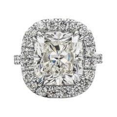 GIA Certified 10.12 Carat Cushion Diamond Halo Engagement Ring
