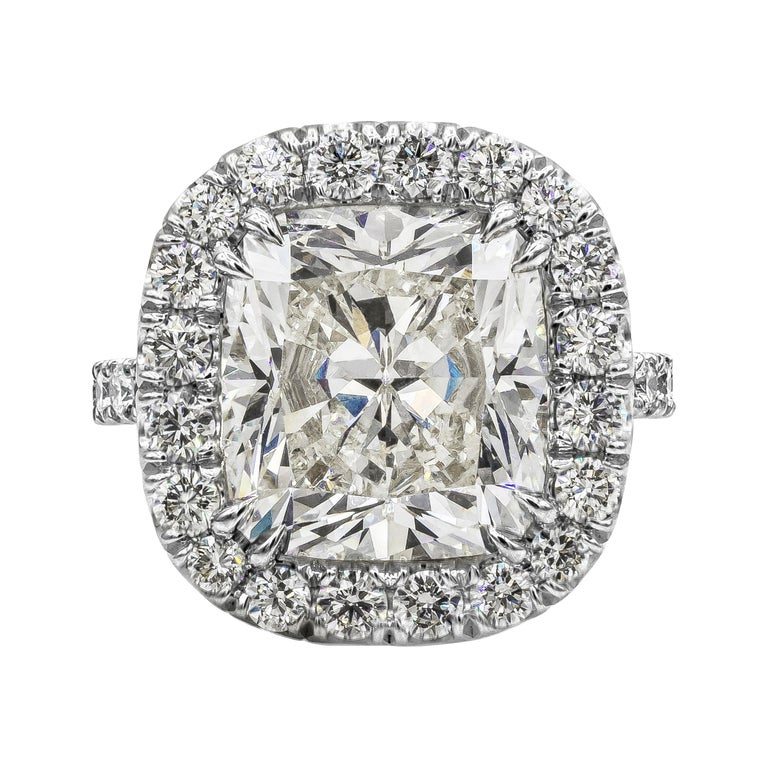 GIA Certified 10.12 Carat Cushion Diamond Halo Engagement Ring For Sale