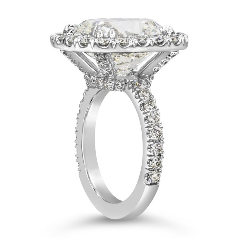 Contemporary GIA Certified 10.12 Carat Cushion Diamond Halo Engagement Ring For Sale