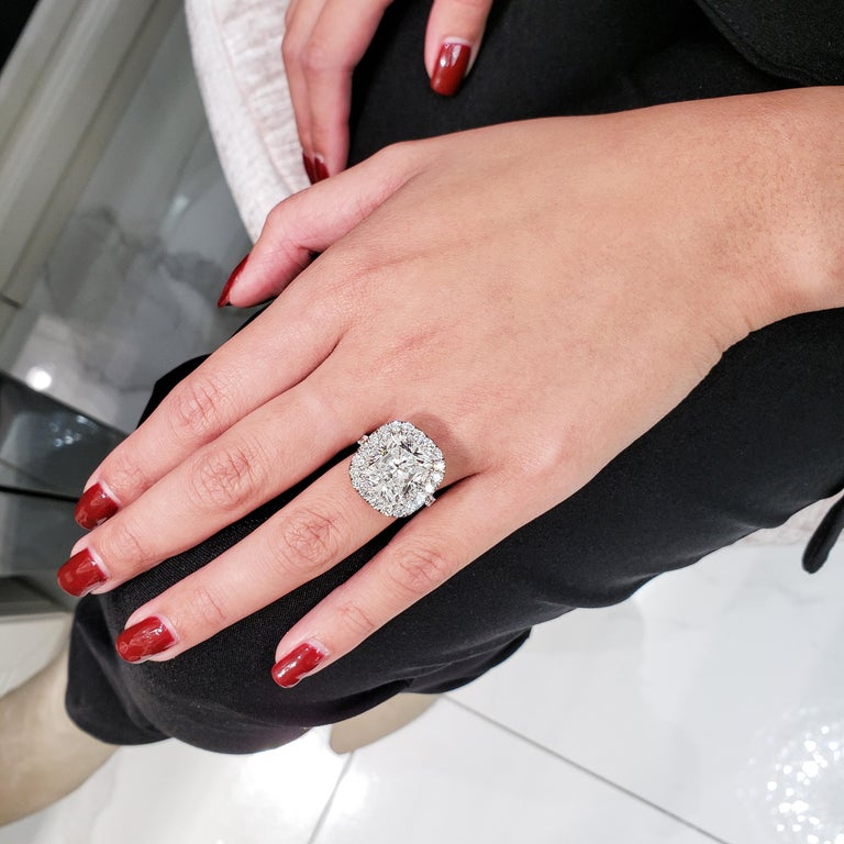 GIA Certified 10.12 Carat Cushion Diamond Halo Engagement Ring For Sale 1