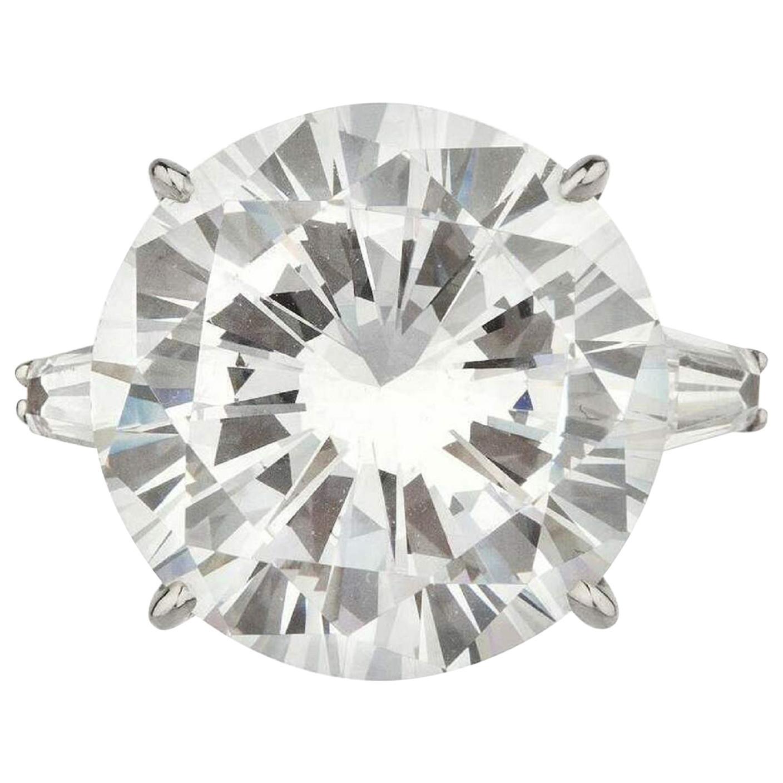 GIA Certified 7.10 Carat Round Brilliant Cut Diamond Ring Triple Ex H Color VS2