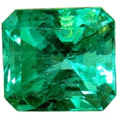 GIA Certified 10.16CT Natural Colombian Green Emerald Square Cut Collector Vivid