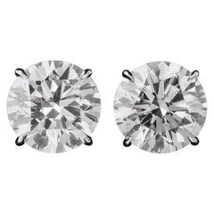 GIA Certified 10.18 Carat Round Diamond Stud Earrings