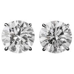 GIA Certified 100% Eye Clean Triple EX 10.18 Carat Round Diamond Stud Earrings