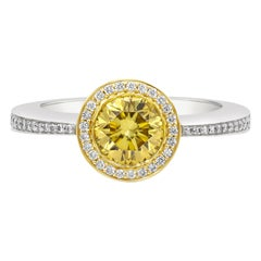 GIA Certified 1.02 Carat Deep Brownish Yellow Diamond Halo Engagement Ring