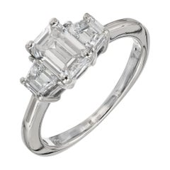 GIA Certified 1.02 Carat Diamond 18 karat White Gold Three-Stone Engagement Ring