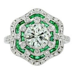 GIA Certified 1.02 Carat Diamond Emerald Engagement Ring