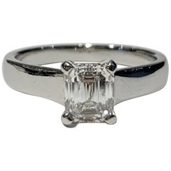 GIA Certified 1.02 Carat Emerald Cut Diamond Platinum Ring