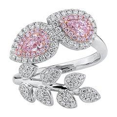 GIA Certified 1.02 Carat Fancy Pink White Diamond 18 Karat Gold Fashion Ring