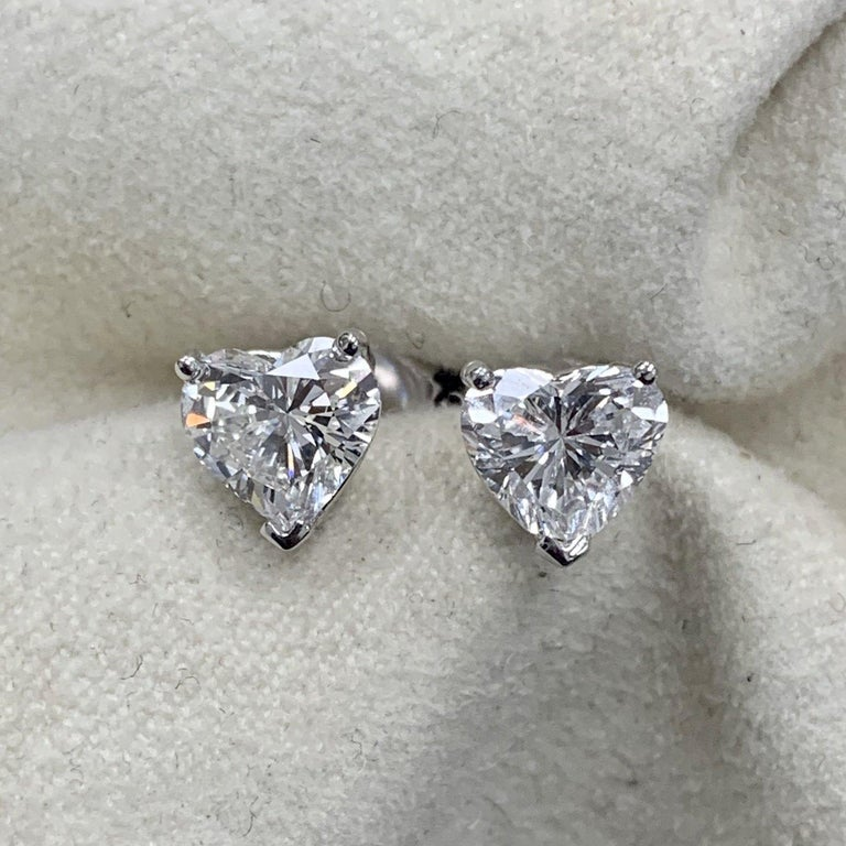 Heart Cut GIA Certified 1.02 Carat Hear Shape Diamond Studs D/F Color VS2 Clarity For Sale