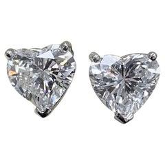 GIA Certified 1.02 Carat Hear Shape Diamond Studs D/F Color VS2 Clarity