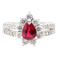 GIA Certified 1.02 Carat Natural Untreated Ruby and Diamond Ring Set in Platinum