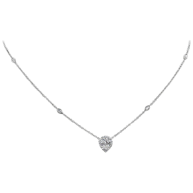GIA Certified 1.02 Carat Pear Shape Diamond Halo Pendant Necklace