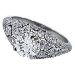 GIA Certified 1.03 Carat Diamond in Edwardian-Style Platinum Ring