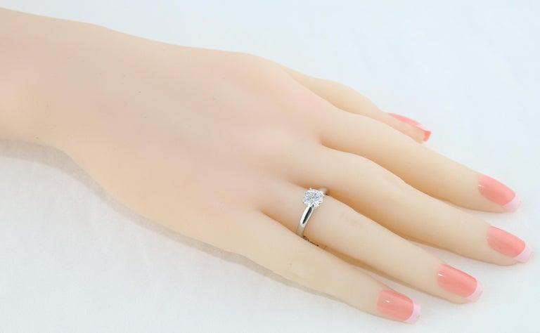 Round Cut GIA Certified 1.03 Carat F VVS2 Round Diamond Platinum Engagement Ring For Sale