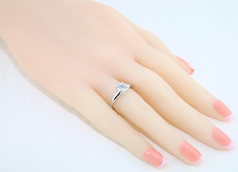 GIA Certified 1.03 Carat F VVS2 Round Diamond Platinum Engagement Ring For Sale 1