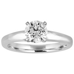 GIA Certified 1.03 Carat F VVS2 Round Diamond Platinum Engagement Ring