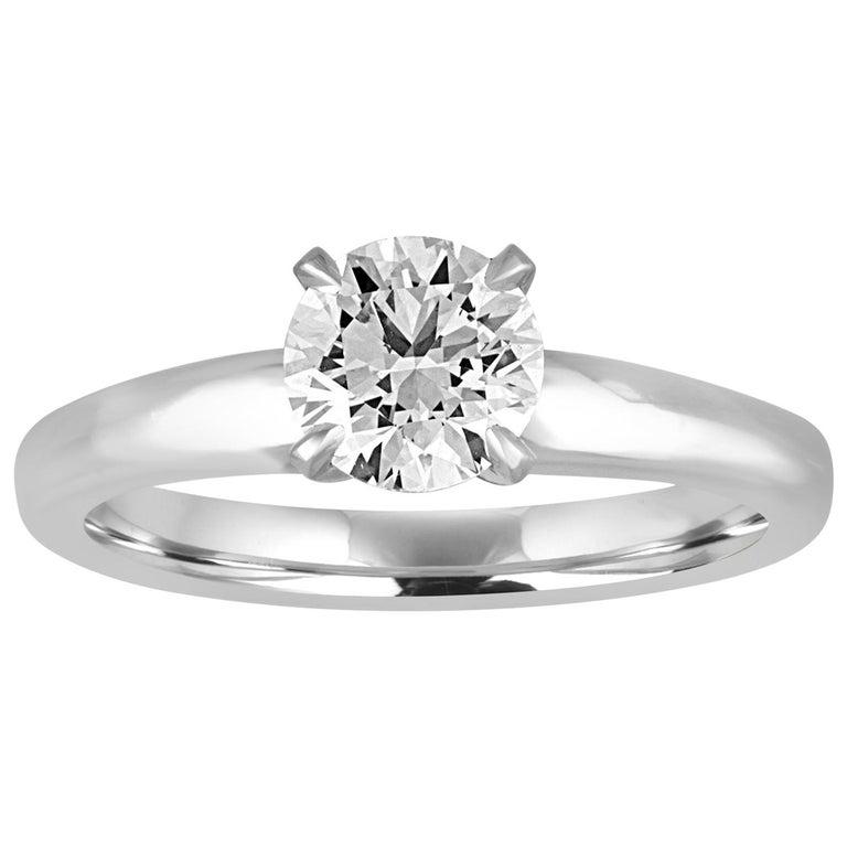 GIA Certified 1.03 Carat F VVS2 Round Diamond Platinum Engagement Ring For Sale