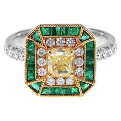 GIA Certified 1.03 Carat Fancy Intense Yellow and Emerald Unique Design Ring
