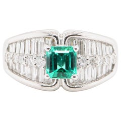 GIA Certified 1.03 Carat No Oil Colombian Emerald & Diamond Ring Set in Platinum