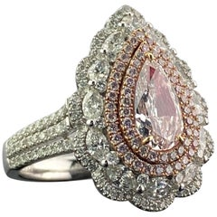 GIA Certified 1.03 Carat Pear Shape Pink Diamond Engagement Ring and Pendant