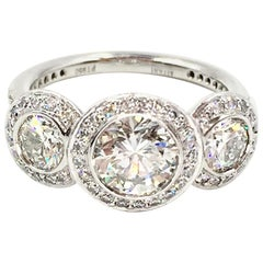 GIA Certified 1.03 Carat Round Brilliant Diamond Three-Stone Ritani Ring
