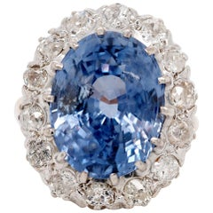 GIA Certified 10.35 Carat Blue Ceylon Sapphire Diamond Vintage Ring