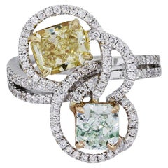 GIA Certified 1.04 Carat Fancy Light Yellow-Green Diamond Spiral Cocktail Ring