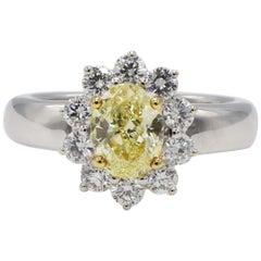 GIA Certified 1.04 Carat Natural Fancy Intense Yellow Oval Diamond Ring