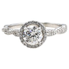 GIA Certified 1.04 Carat Round Diamond Engagement Ring Platinum Twist Pave Band