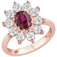 GIA Certified 1.04 Carat Ruby and Diamond Ring