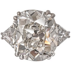 GIA Certified 10.45 Carat Cushion Cut Diamond Ring