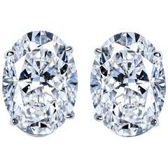 GIA Certified 10.48 Carat Oval Cut Diamond Stud Earrings