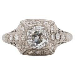 GIA Certified 1.05 Carat Art Deco Diamond Platinum Engagement Ring