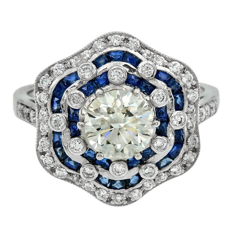 GIA Certified 1.05 Carat Diamond Blue Sapphire Engagement Ring