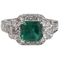 GIA Certified 1.05 Carat Emerald 14 Karat Square Emerald and Halo Diamond Ring