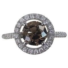 GIA Certified 1.05 Carat Fancy Dark Brown Round Diamond Ring 18 Karat White Gold